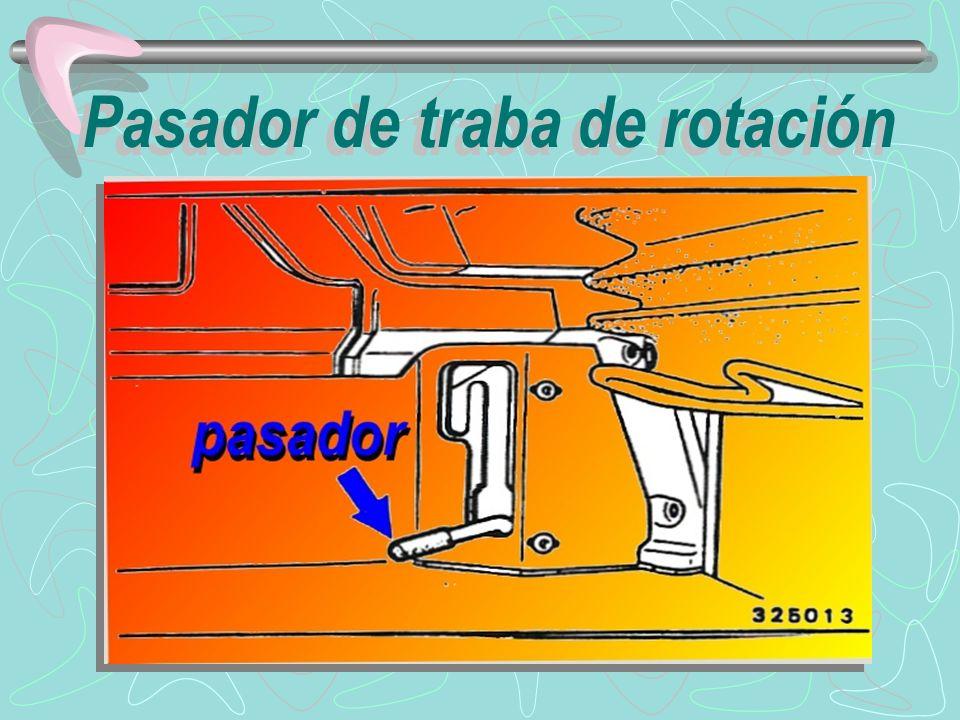 advertencia Inspeccione visualmente para cerciorarse que el pasador de traba de la rotación ha enganchado correctamente el bloque de traba de rotación de la estructura inferior, especialmente antes de levantar o transportar la máquina.