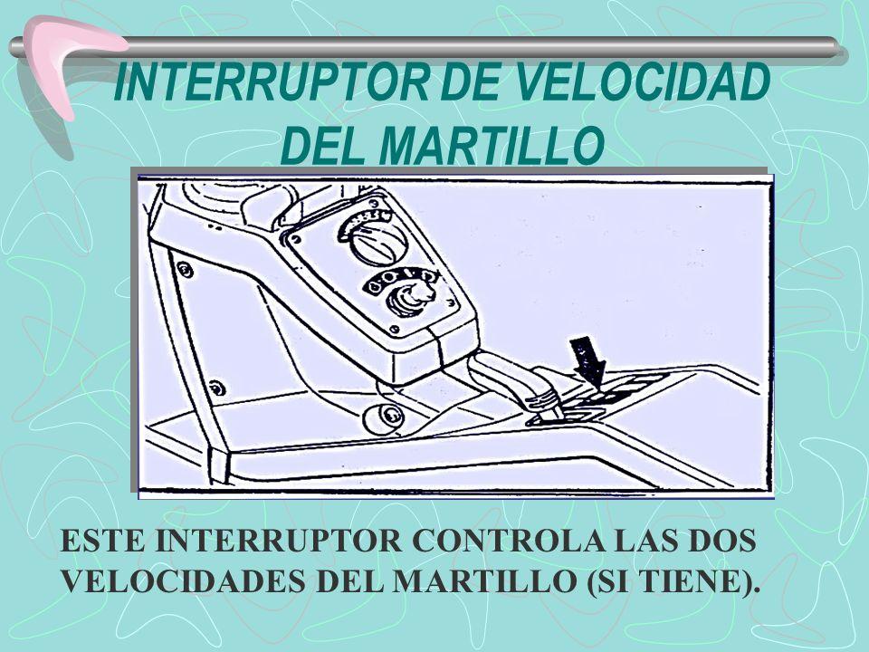 INTERRUPTOR DE VELOCIDAD DEL MARTILLO ESTE INTERRUPTOR CONTROLA LAS DOS VELOCIDADES DEL MARTILLO (SI TIENE).