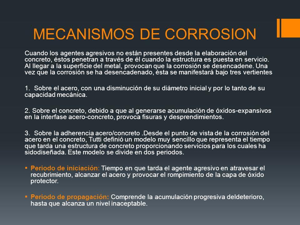 MECANISMOS DE CORROSION Cuando los agentes agresivos no están presentes desde la elaboración del concreto, éstos penetran a través de él cuando la estructura es puesta en servicio.