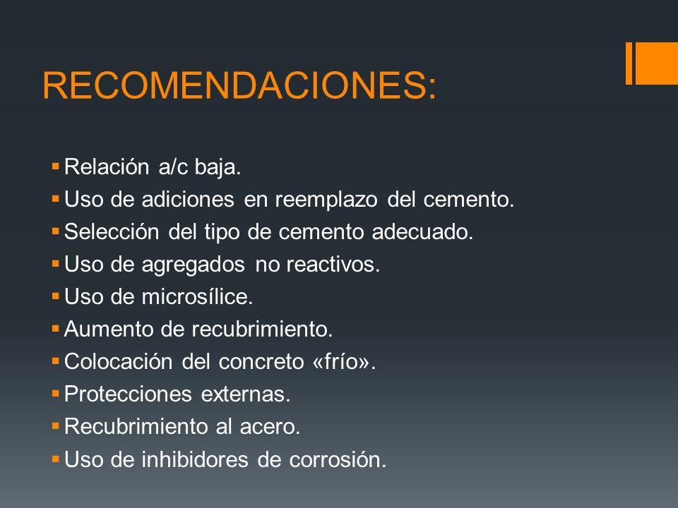 RECOMENDACIONES: Relación a/c baja.Uso de adiciones en reemplazo del cemento.