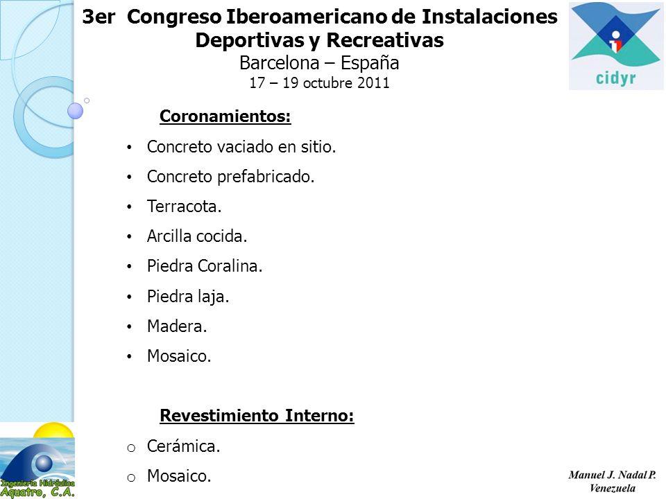 3er Congreso Iberoamericano de Instalaciones Deportivas y Recreativas Barcelona – España 17 – 19 octubre 2011 Coronamientos: Concreto vaciado en sitio.
