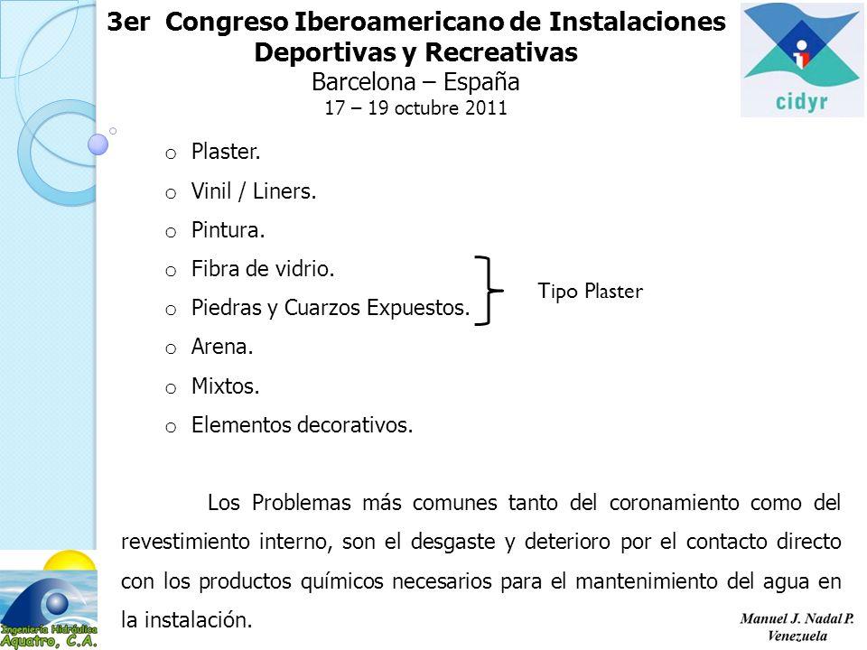 3er Congreso Iberoamericano de Instalaciones Deportivas y Recreativas Barcelona – España 17 – 19 octubre 2011 o Plaster.