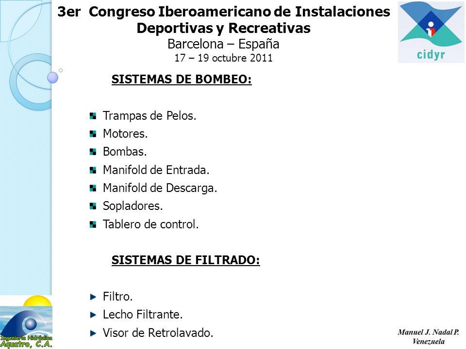 3er Congreso Iberoamericano de Instalaciones Deportivas y Recreativas Barcelona – España 17 – 19 octubre 2011 SISTEMAS DE BOMBEO: Trampas de Pelos.