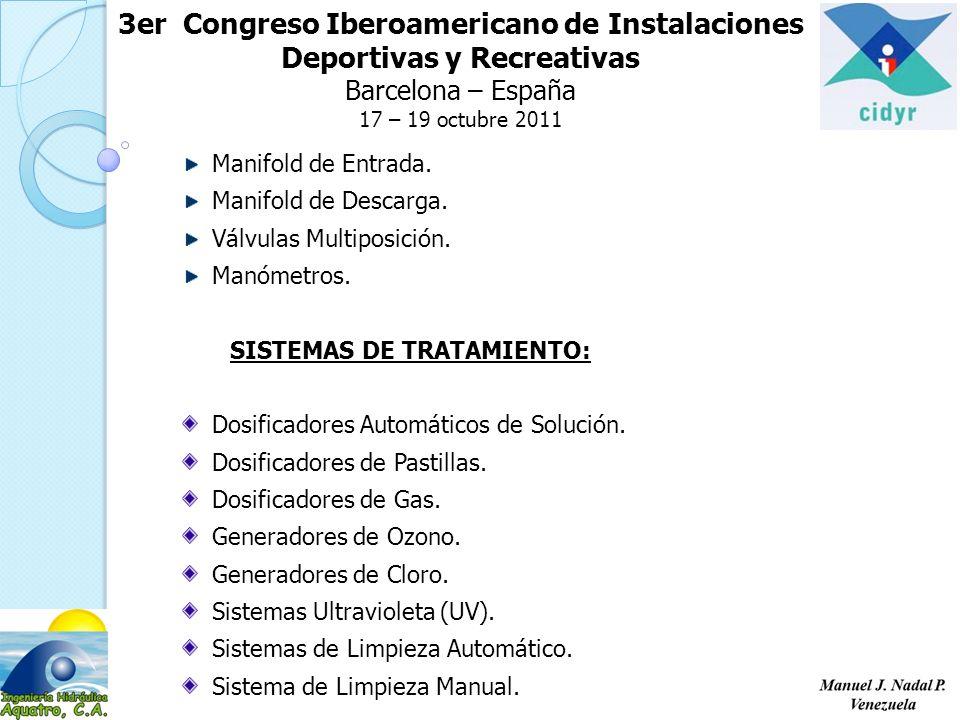3er Congreso Iberoamericano de Instalaciones Deportivas y Recreativas Barcelona – España 17 – 19 octubre 2011 Manifold de Entrada. Manifold de Descarg