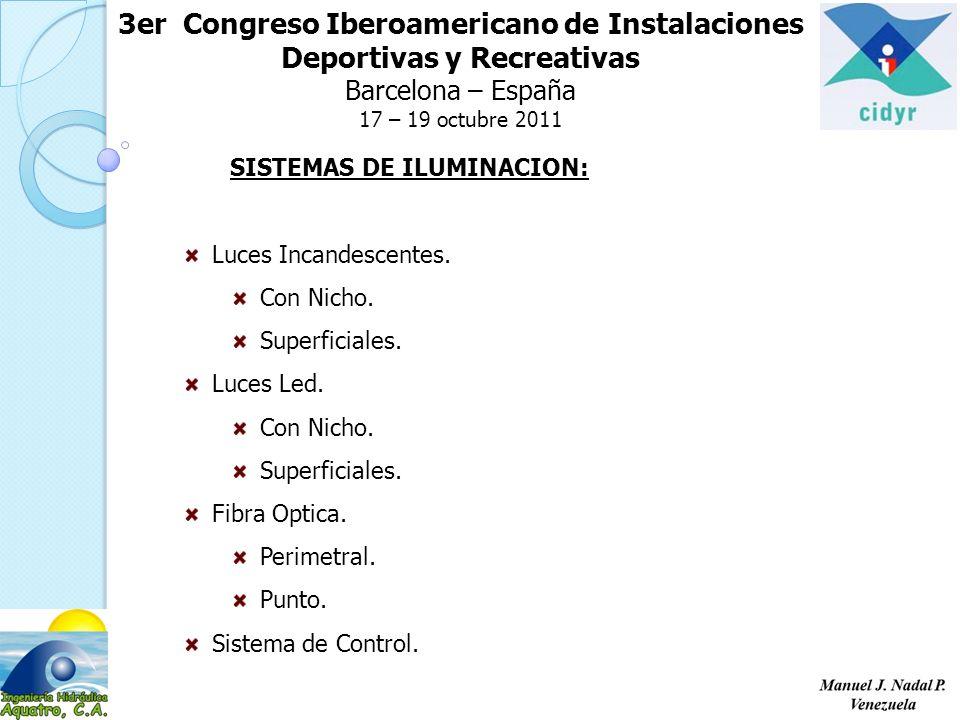 3er Congreso Iberoamericano de Instalaciones Deportivas y Recreativas Barcelona – España 17 – 19 octubre 2011 SISTEMAS DE ILUMINACION: Luces Incandesc
