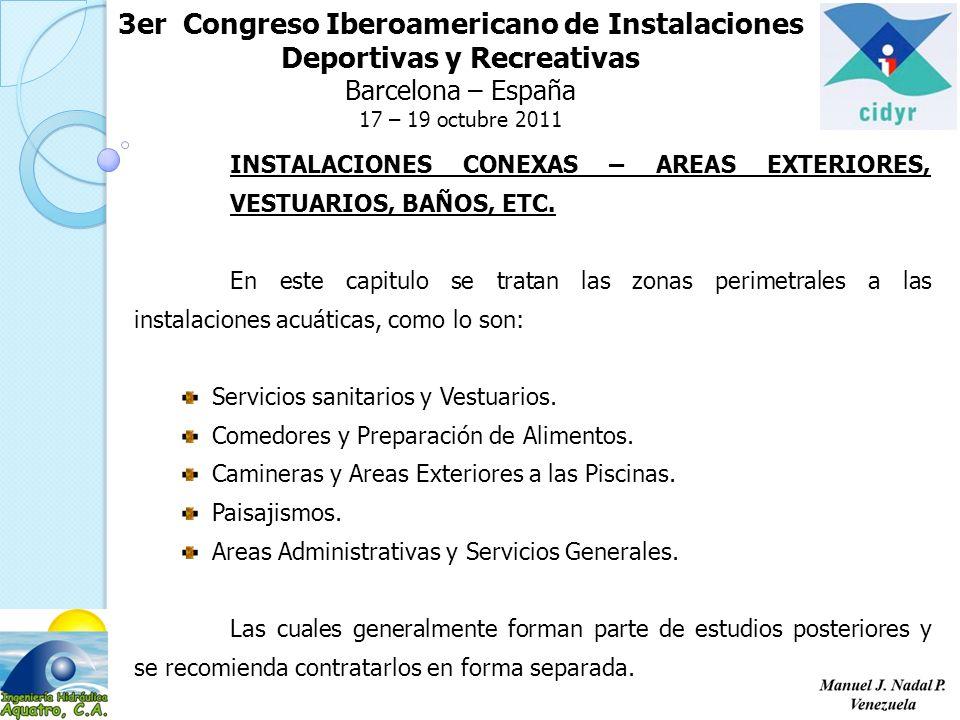 3er Congreso Iberoamericano de Instalaciones Deportivas y Recreativas Barcelona – España 17 – 19 octubre 2011 INSTALACIONES CONEXAS – AREAS EXTERIORES, VESTUARIOS, BAÑOS, ETC.