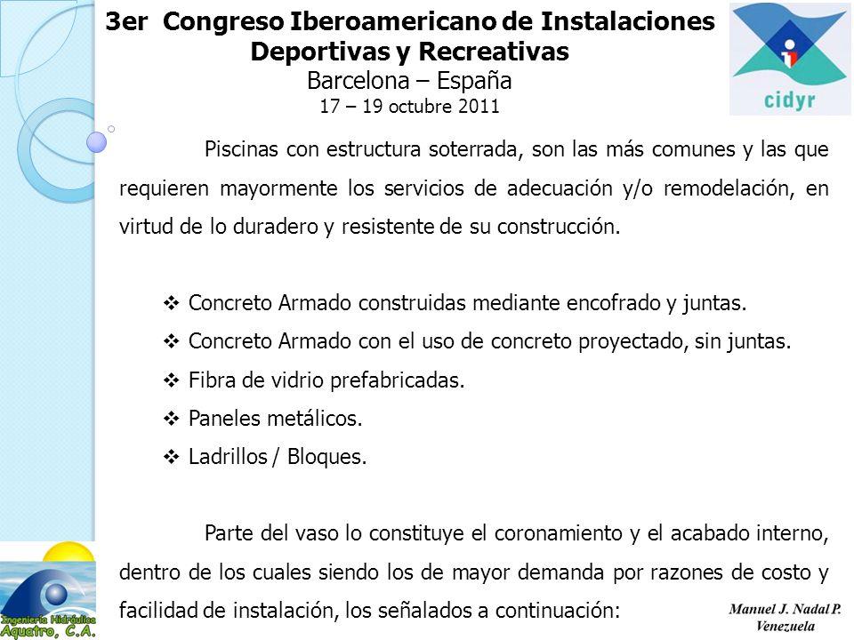 3er Congreso Iberoamericano de Instalaciones Deportivas y Recreativas Barcelona – España 17 – 19 octubre 2011 Piscinas con estructura soterrada, son l