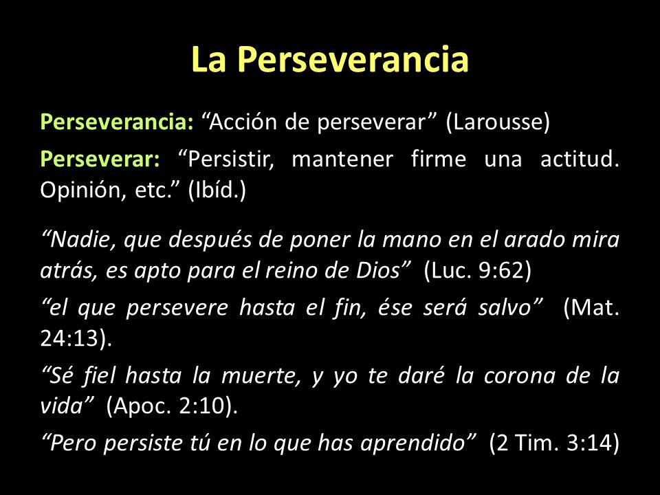 La Perseverancia Perseverancia: Acción de perseverar (Larousse) Perseverar: Persistir, mantener firme una actitud. Opinión, etc. (Ibíd.) Nadie, que de