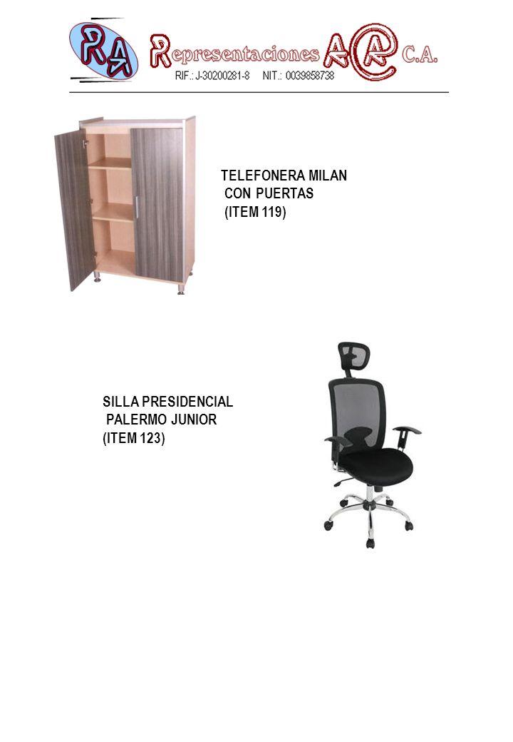 TELEFONERA MILAN CON PUERTAS (ITEM 119) SILLA PRESIDENCIAL PALERMO JUNIOR (ITEM 123)