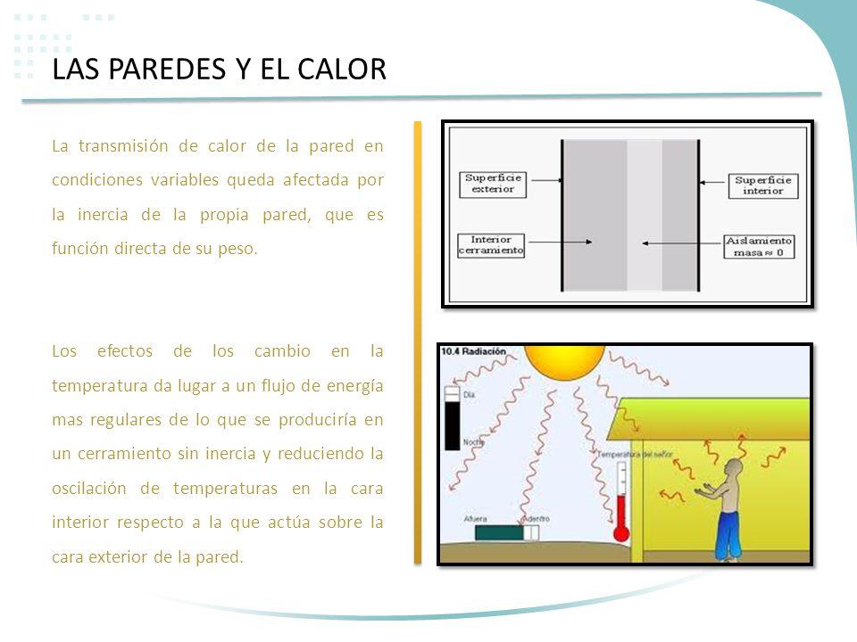 LAS PAREDES Y EL CALOR La transmisión de calor de la pared en condiciones variables queda afectada por la inercia de la propia pared, que es función d