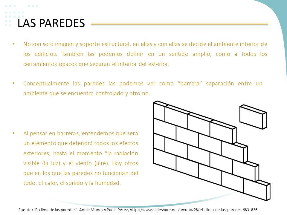 LAS PAREDES No son solo imagen y soporte estructural, en ellas y con ellas se decide el ambiente interior de los edificios. También las podemos defini