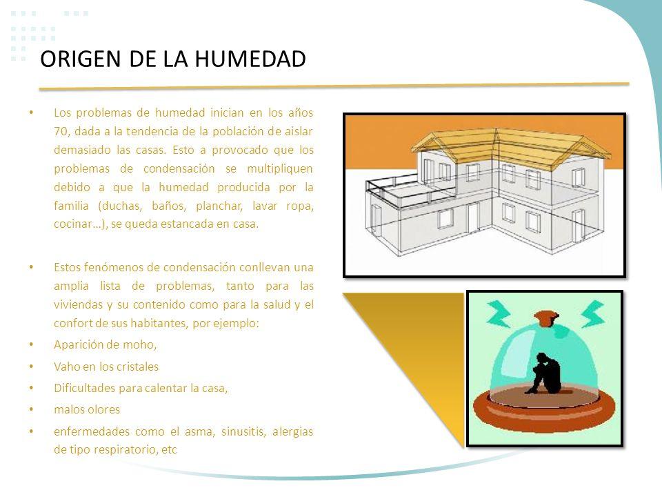 ORIGEN DE LA HUMEDAD Los problemas de humedad inician en los años 70, dada a la tendencia de la población de aislar demasiado las casas. Esto a provoc
