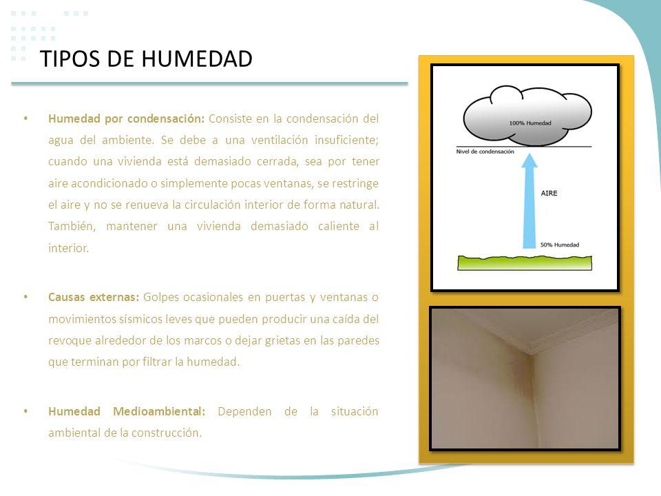 TIPOS DE HUMEDAD Humedad por condensación: Consiste en la condensación del agua del ambiente. Se debe a una ventilación insuficiente; cuando una vivie
