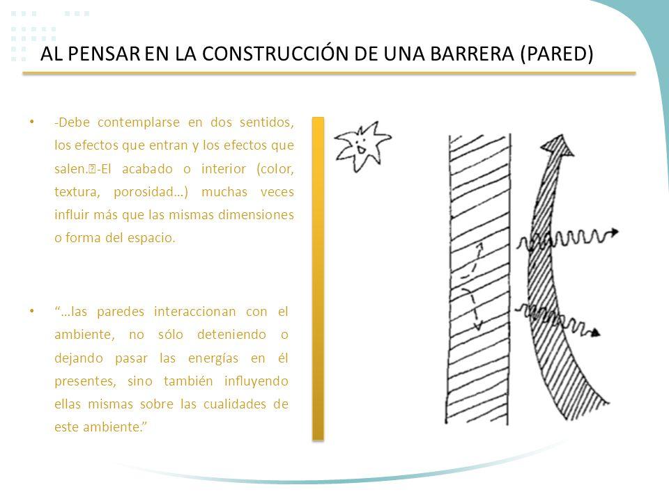 AL PENSAR EN LA CONSTRUCCIÓN DE UNA BARRERA (PARED) -Debe contemplarse en dos sentidos, los efectos que entran y los efectos que salen. -El acabado o