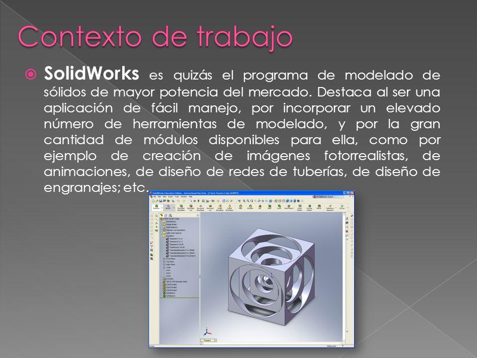 SolidWorks es quizás el programa de modelado de sólidos de mayor potencia del mercado. Destaca al ser una aplicación de fácil manejo, por incorporar u