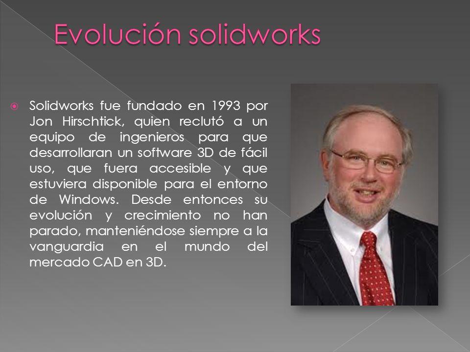 Solidworks fue fundado en 1993 por Jon Hirschtick, quien reclutó a un equipo de ingenieros para que desarrollaran un software 3D de fácil uso, que fue
