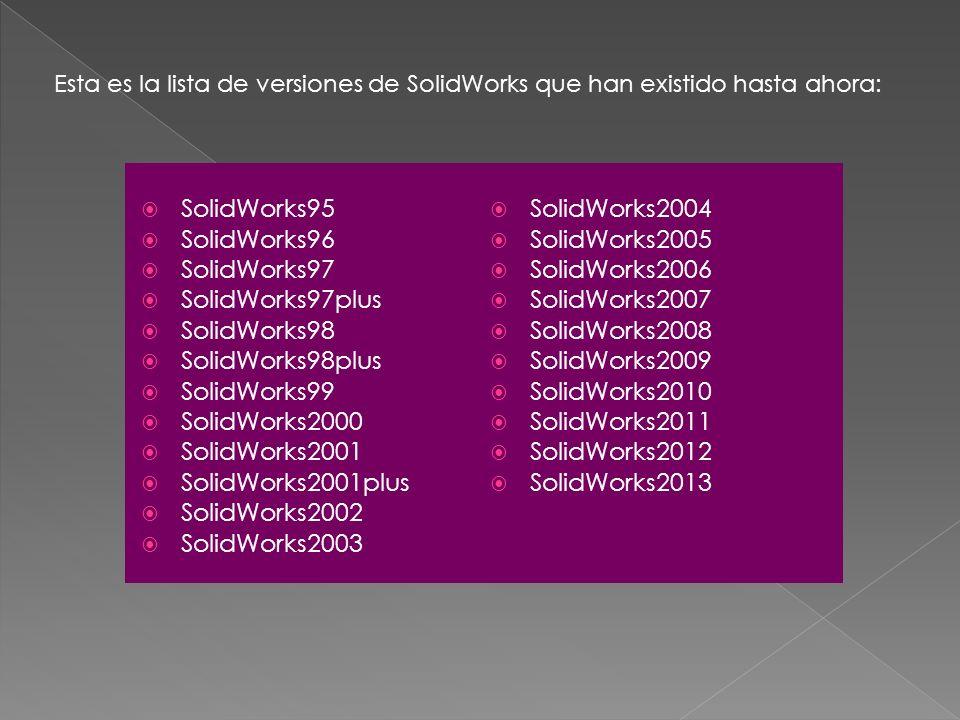 SolidWorks95 SolidWorks96 SolidWorks97 SolidWorks97plus SolidWorks98 SolidWorks98plus SolidWorks99 SolidWorks2000 SolidWorks2001 SolidWorks2001plus So