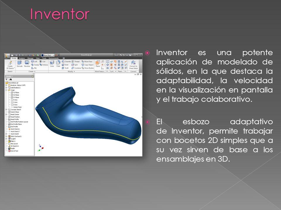 Inventor es una potente aplicación de modelado de sólidos, en la que destaca la adaptabilidad, la velocidad en la visualización en pantalla y el traba