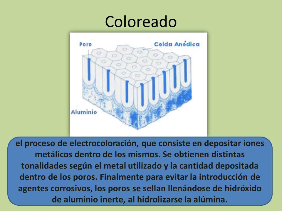 Coloreado el proceso de electrocoloración, que consiste en depositar iones metálicos dentro de los mismos. Se obtienen distintas tonalidades según el
