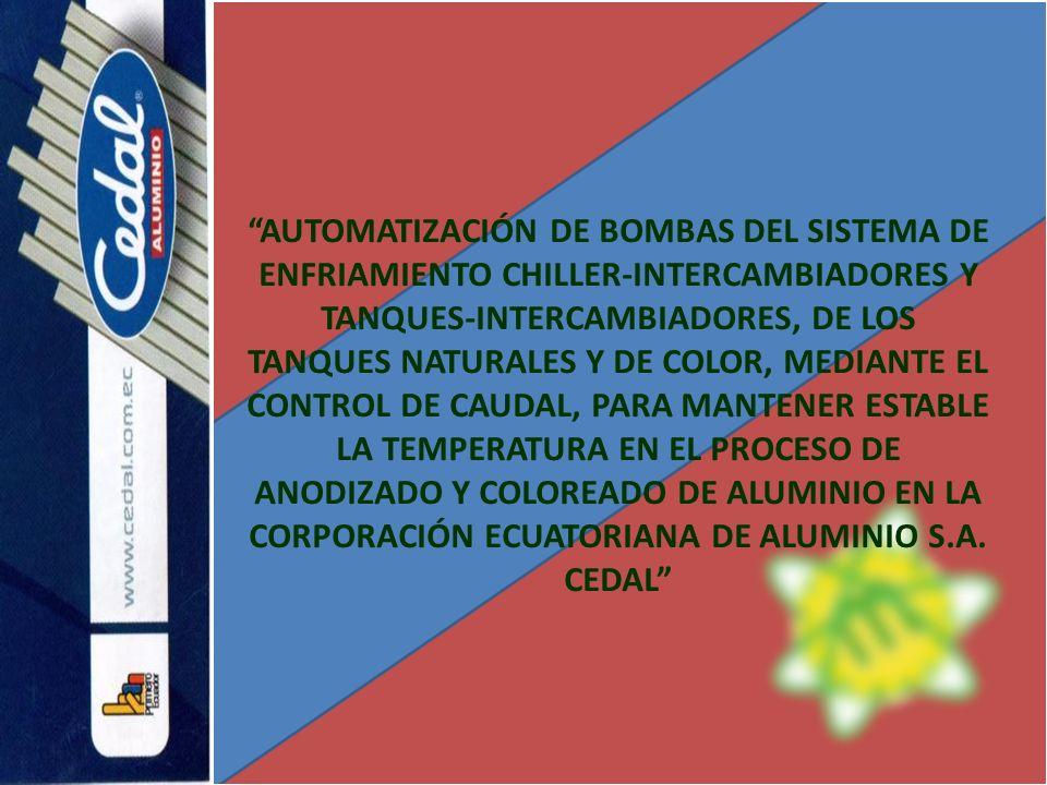 AUTOMATIZACIÓN DE BOMBAS DEL SISTEMA DE ENFRIAMIENTO CHILLER-INTERCAMBIADORES Y TANQUES-INTERCAMBIADORES, DE LOS TANQUES NATURALES Y DE COLOR, MEDIANT
