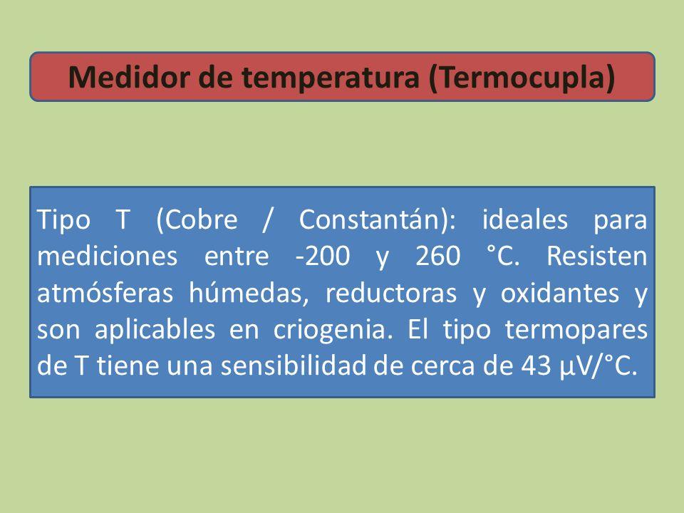 Tipo T (Cobre / Constantán): ideales para mediciones entre -200 y 260 °C. Resisten atmósferas húmedas, reductoras y oxidantes y son aplicables en crio