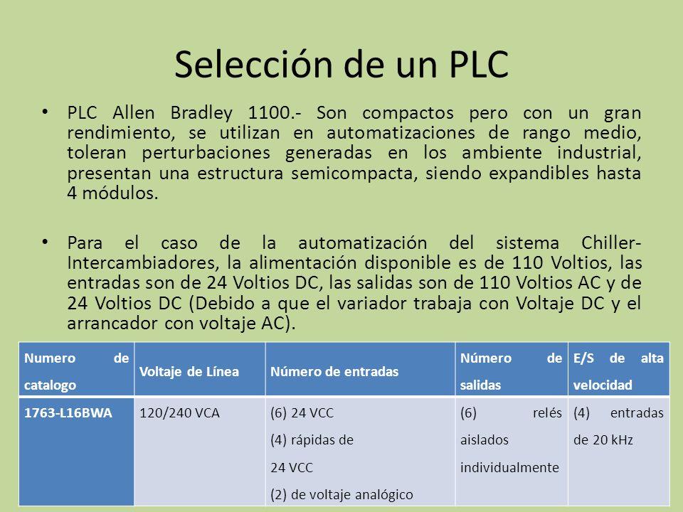 Selección de un PLC PLC Allen Bradley 1100.- Son compactos pero con un gran rendimiento, se utilizan en automatizaciones de rango medio, toleran perturbaciones generadas en los ambiente industrial, presentan una estructura semicompacta, siendo expandibles hasta 4 módulos.