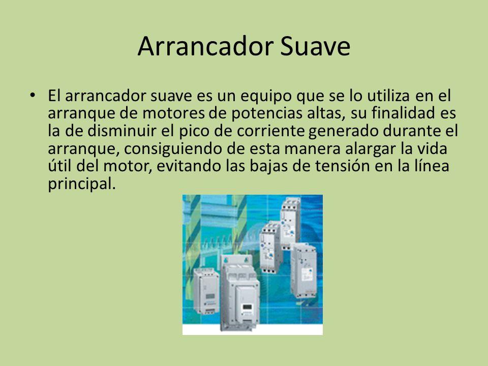 El arrancador suave es un equipo que se lo utiliza en el arranque de motores de potencias altas, su finalidad es la de disminuir el pico de corriente