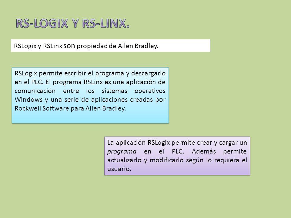 RSLogix y RSLinx son propiedad de Allen Bradley. RSLogix permite escribir el programa y descargarlo en el PLC. El programa RSLinx es una aplicación de