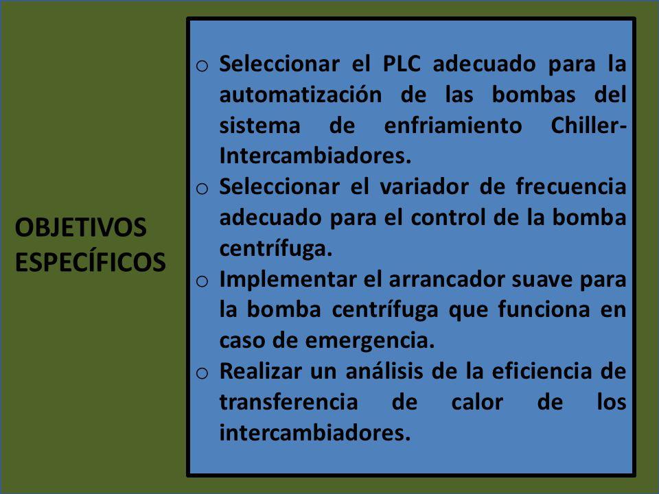 o Seleccionar el PLC adecuado para la automatización de las bombas del sistema de enfriamiento Chiller- Intercambiadores. o Seleccionar el variador de