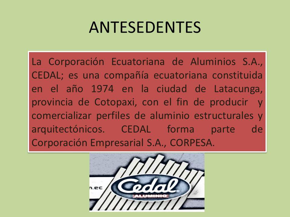ANTESEDENTES La Corporación Ecuatoriana de Aluminios S.A., CEDAL; es una compañía ecuatoriana constituida en el año 1974 en la ciudad de Latacunga, provincia de Cotopaxi, con el fin de producir y comercializar perfiles de aluminio estructurales y arquitectónicos.