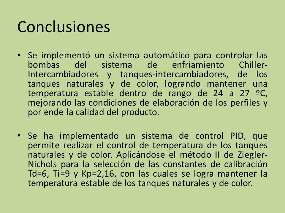 Conclusiones Se implementó un sistema automático para controlar las bombas del sistema de enfriamiento Chiller- Intercambiadores y tanques-intercambia