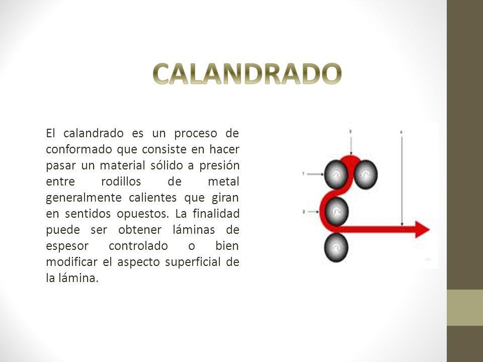 El calandrado es un proceso de conformado que consiste en hacer pasar un material sólido a presión entre rodillos de metal generalmente calientes que