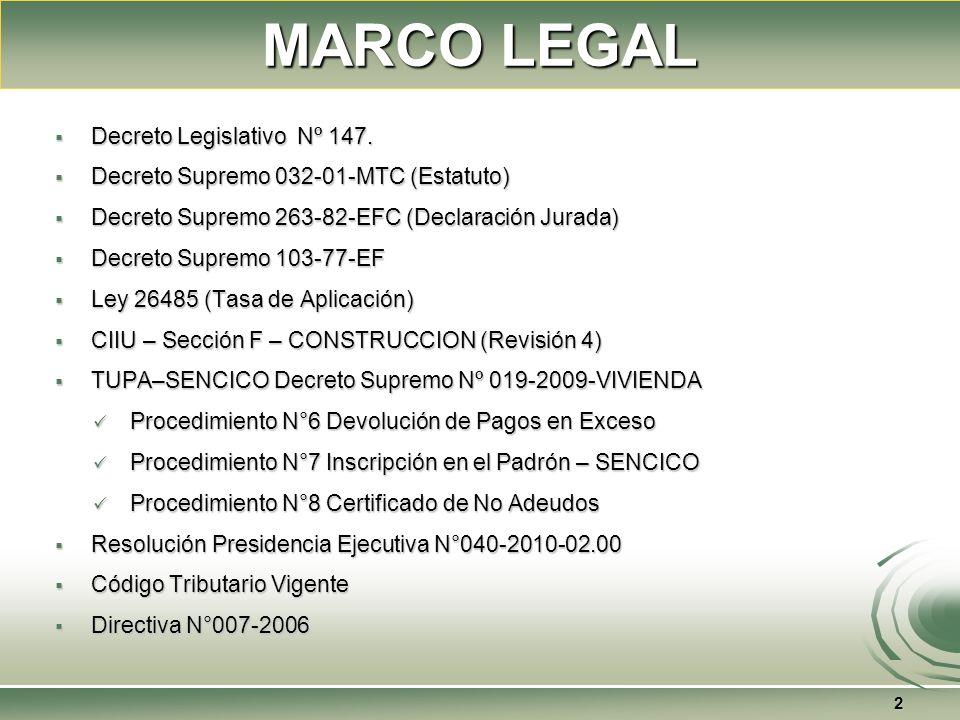 MARCO LEGAL Decreto Legislativo Nº 147. Decreto Legislativo Nº 147. Decreto Supremo 032-01-MTC (Estatuto) Decreto Supremo 032-01-MTC (Estatuto) Decret