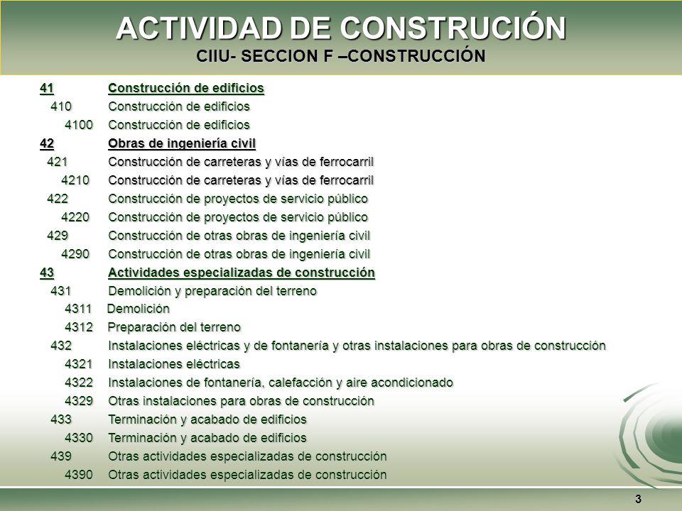 ACTIVIDAD DE CONSTRUCIÓN CIIU- SECCION F –CONSTRUCCIÓN 3 41 Construcción de edificios 410 Construcción de edificios 410 Construcción de edificios 4100