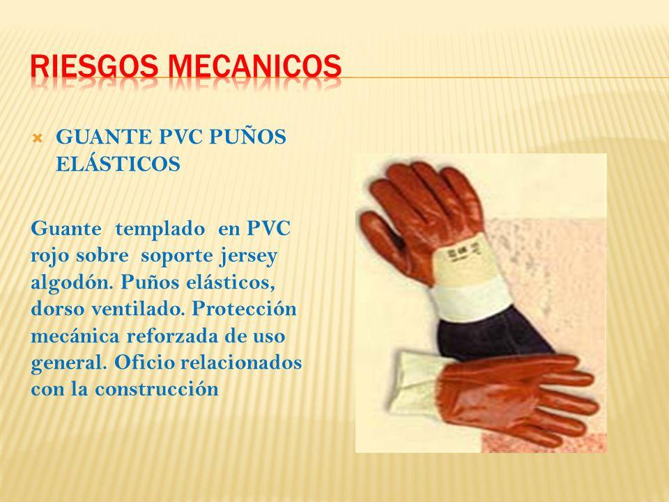GUANTE PVC PUÑOS ELÁSTICOS Guante templado en PVC rojo sobre soporte jersey algodón.
