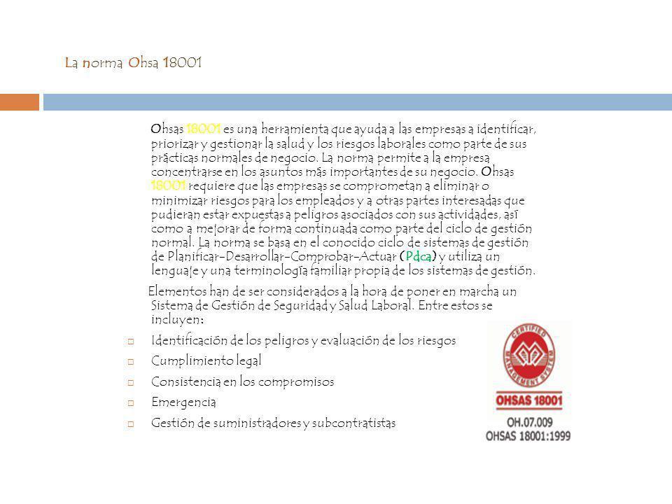 La norma Ohsa 18001 Ohsas 18001 es una herramienta que ayuda a las empresas a identificar, priorizar y gestionar la salud y los riesgos laborales como