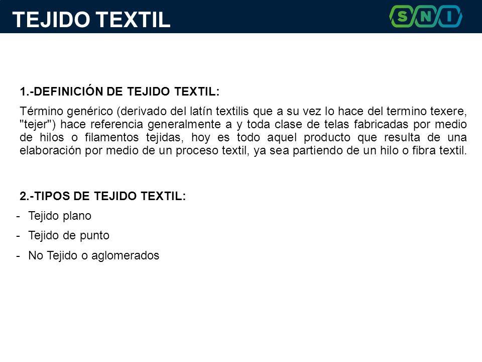 TEJIDO TEXTIL 1.-DEFINICIÓN DE TEJIDO TEXTIL: Término genérico (derivado del latín textilis que a su vez lo hace del termino texere,