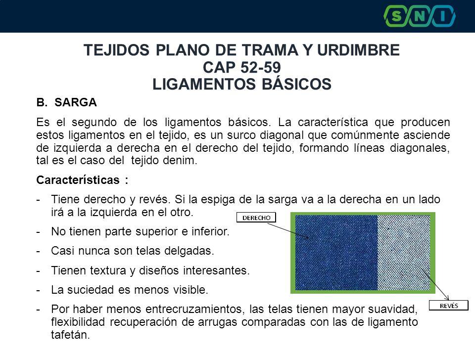 TEJIDOS PLANO DE TRAMA Y URDIMBRE CAP 52-59 LIGAMENTOS BÁSICOS B. SARGA Es el segundo de los ligamentos básicos. La característica que producen estos
