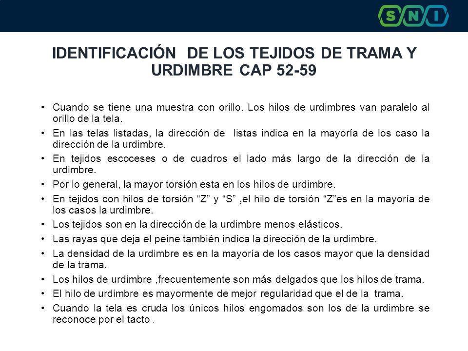 IDENTIFICACIÓN DE LOS TEJIDOS DE TRAMA Y URDIMBRE CAP 52-59 Cuando se tiene una muestra con orillo. Los hilos de urdimbres van paralelo al orillo de l