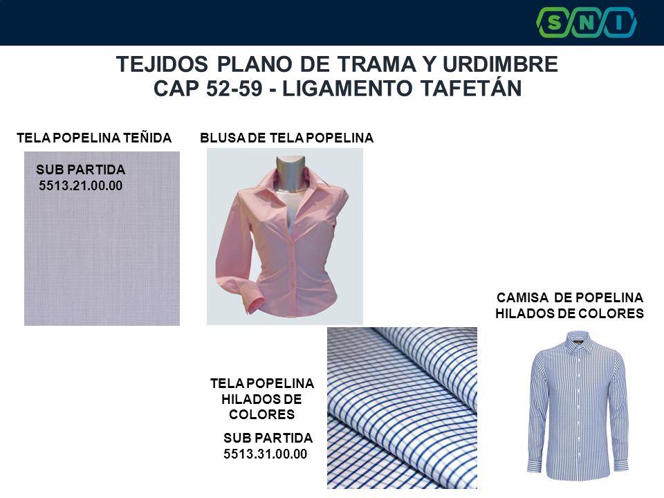TEJIDOS PLANO DE TRAMA Y URDIMBRE CAP 52-59 - LIGAMENTO TAFETÁN CAMISA DE POPELINA HILADOS DE COLORES BLUSA DE TELA POPELINATELA POPELINA TEÑIDA SUB PARTIDA 5513.21.00.00 SUB PARTIDA 5513.31.00.00 TELA POPELINA HILADOS DE COLORES