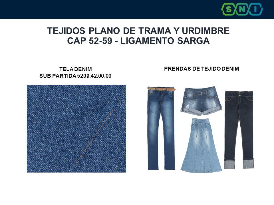 TEJIDOS PLANO DE TRAMA Y URDIMBRE CAP 52-59 - LIGAMENTO SARGA PRENDAS DE TEJIDO DENIM TELA DENIM SUB PARTIDA 5209.42.00.00