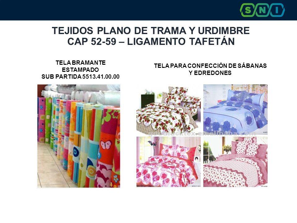 TEJIDOS PLANO DE TRAMA Y URDIMBRE CAP 52-59 – LIGAMENTO TAFETÁN TELA PARA CONFECCIÓN DE SÁBANAS Y EDREDONES TELA BRAMANTE ESTAMPADO SUB PARTIDA 5513.4