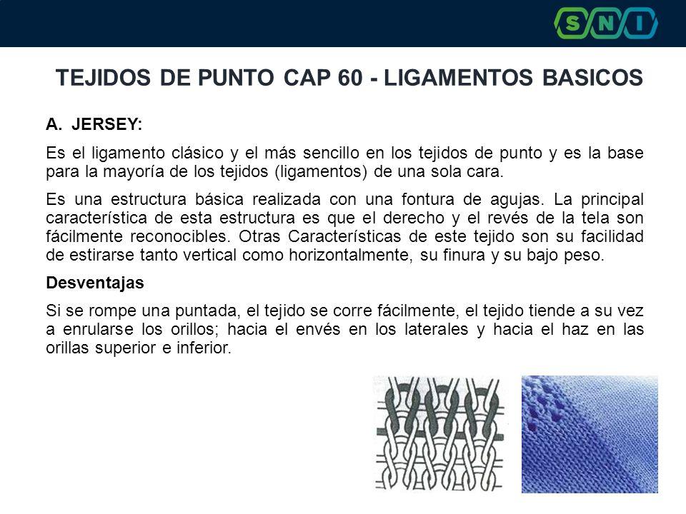 TEJIDOS DE PUNTO CAP 60 - LIGAMENTOS BASICOS A.JERSEY: Es el ligamento clásico y el más sencillo en los tejidos de punto y es la base para la mayoría