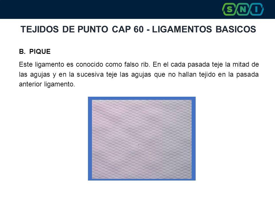 TEJIDOS DE PUNTO CAP 60 - LIGAMENTOS BASICOS B.PIQUE Este ligamento es conocido como falso rib. En el cada pasada teje la mitad de las agujas y en la