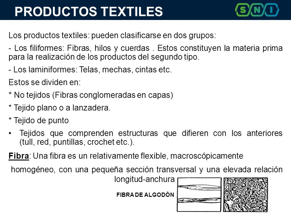 PRODUCTOS TEXTILES Los productos textiles: pueden clasificarse en dos grupos: - Los filiformes: Fibras, hilos y cuerdas. Estos constituyen la materia