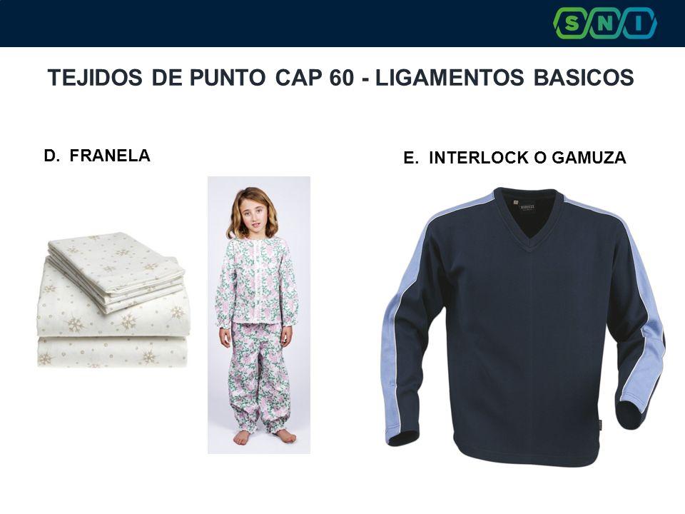 TEJIDOS DE PUNTO CAP 60 - LIGAMENTOS BASICOS D.FRANELA E.INTERLOCK O GAMUZA
