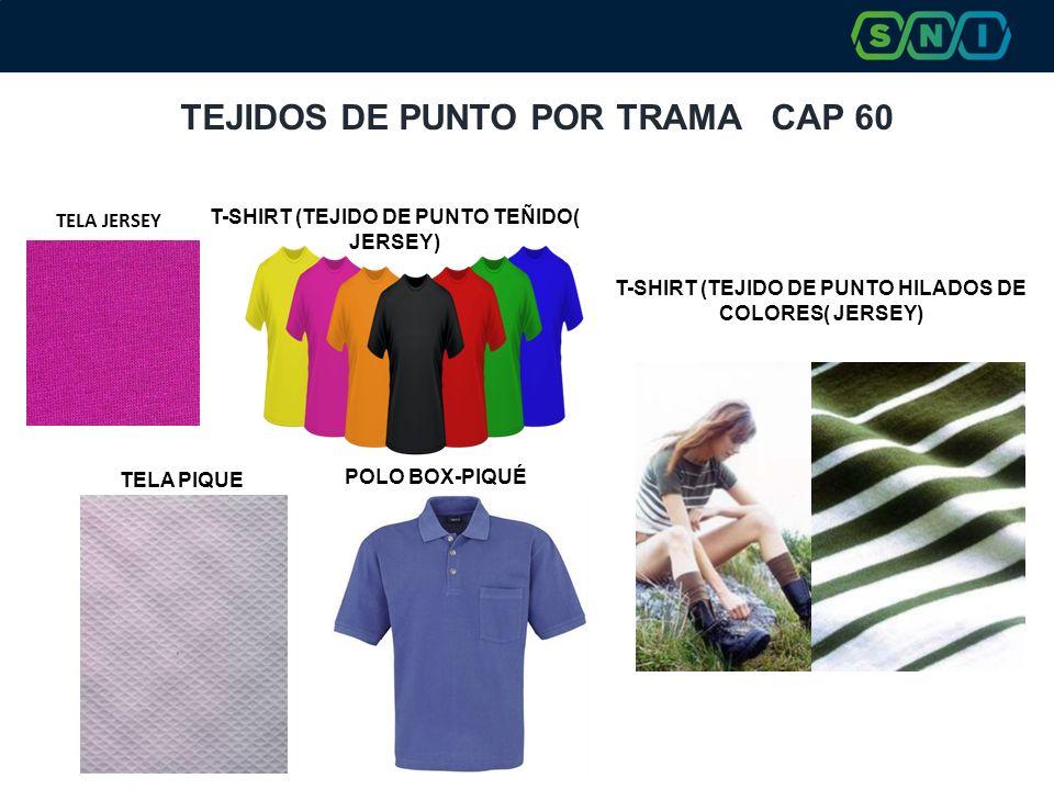 TEJIDOS DE PUNTO POR TRAMA CAP 60 POLO BOX-PIQUÉ T-SHIRT (TEJIDO DE PUNTO TEÑIDO( JERSEY) T-SHIRT (TEJIDO DE PUNTO HILADOS DE COLORES( JERSEY) TELA PI