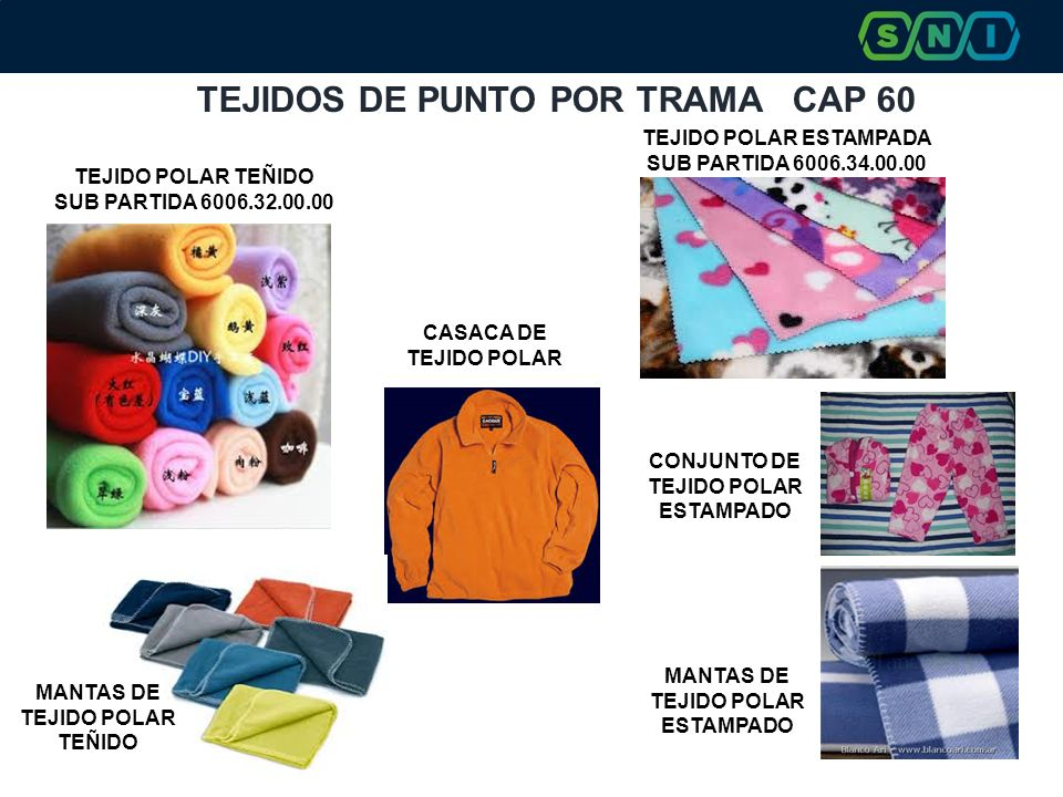 TEJIDOS DE PUNTO POR TRAMA CAP 60 TEJIDO POLAR TEÑIDO SUB PARTIDA 6006.32.00.00 CASACA DE TEJIDO POLAR MANTAS DE TEJIDO POLAR TEÑIDO TEJIDO POLAR ESTAMPADA SUB PARTIDA 6006.34.00.00 MANTAS DE TEJIDO POLAR ESTAMPADO CONJUNTO DE TEJIDO POLAR ESTAMPADO