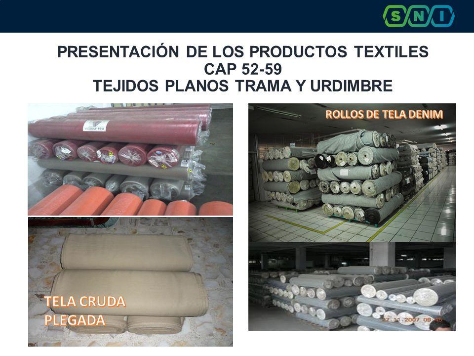 PRESENTACIÓN DE LOS PRODUCTOS TEXTILES CAP 52-59 TEJIDOS PLANOS TRAMA Y URDIMBRE TELA DENIM