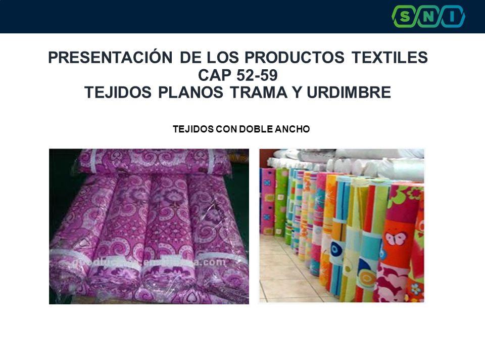 PRESENTACIÓN DE LOS PRODUCTOS TEXTILES CAP 52-59 TEJIDOS PLANOS TRAMA Y URDIMBRE TEJIDOS CON DOBLE ANCHO